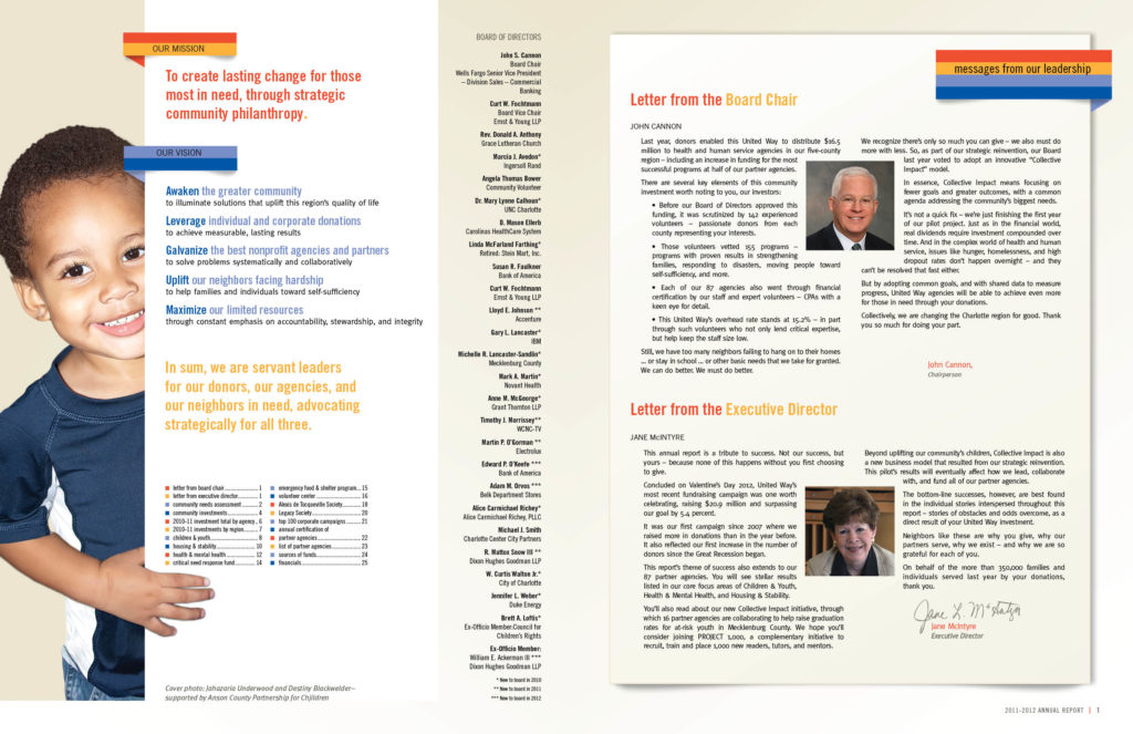 United Way Annual Report Inside cover pages